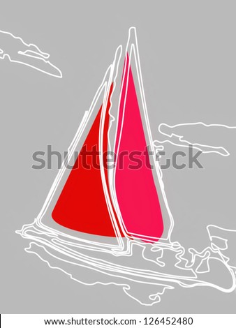 sail red a sailboat boat in the sea with waves and clouds in the sky painted figuratively with white graphics stroke - stock vector