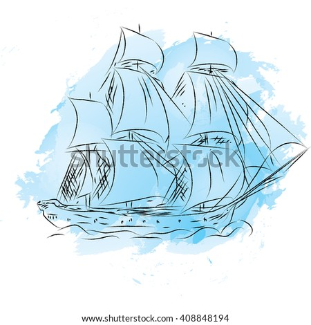 Sail ship in ocean water for travel or another design or logo template. Best cruise ships. collection of yachts, ships and boats. - stock vector