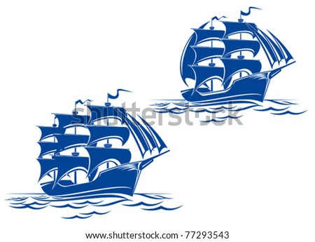 Sail ship in ocean water for travel or another design, such a logo. Jpeg version also available - stock vector