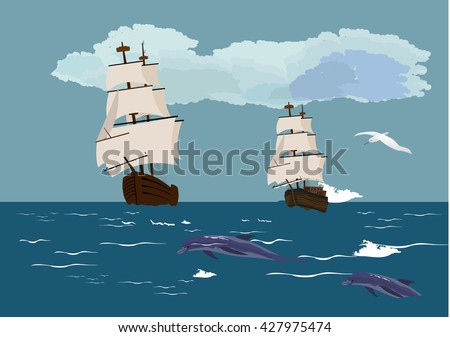 Sail ships with white sails on blue ocean waves, white clouds on sky. Vector illustration - stock vector