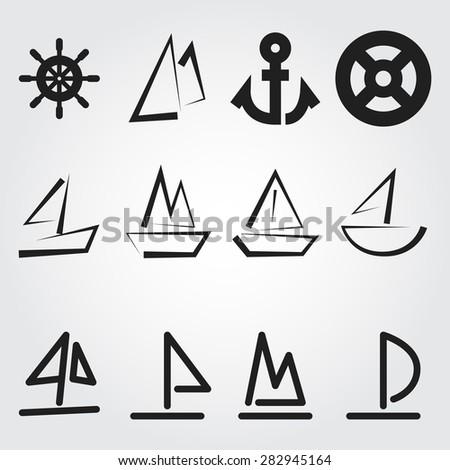 Sail vector icons - stock vector