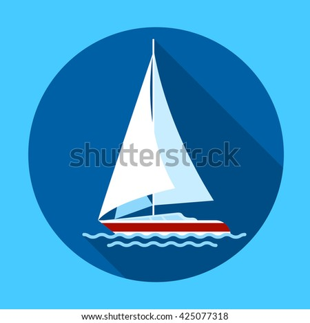 Sail Yacht Boat Flat Icon Vector Illustration - stock vector