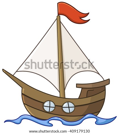sailboat cartoon stock vector 409179130 shutterstock rh shutterstock com sailboat cartoon drawing sailboat cartoon picture