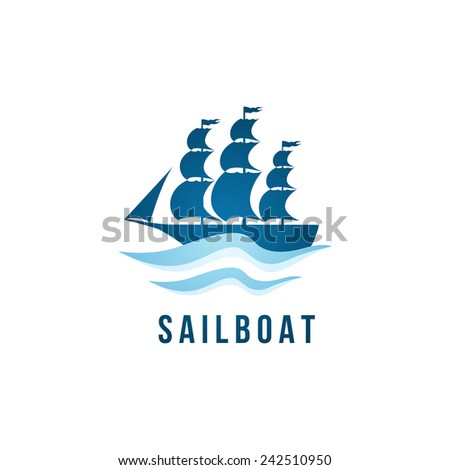 Sailboat logo template over white background - stock vector