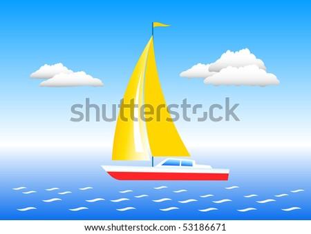 Sailboat on a sea - stock vector