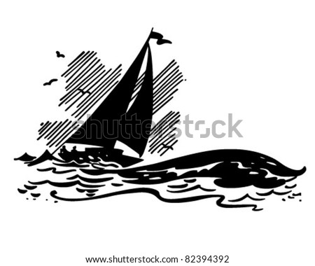 Sailboat On Big Waves - Retro Clipart Illustration - stock vector