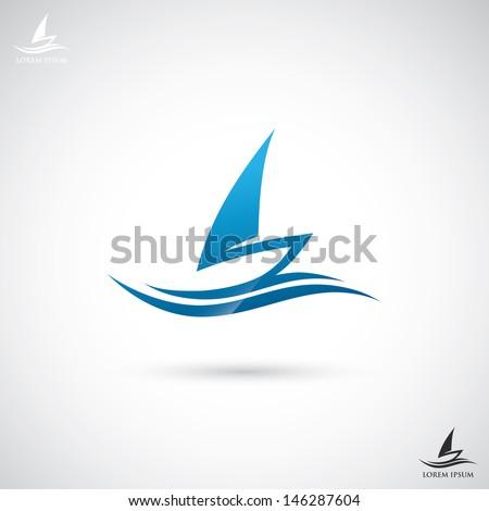 Sailboat sign - vector illustration - stock vector