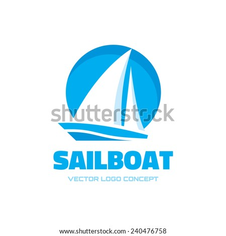 Sailboat - vector logo concept illustration. Ship sign. Design element.  - stock vector