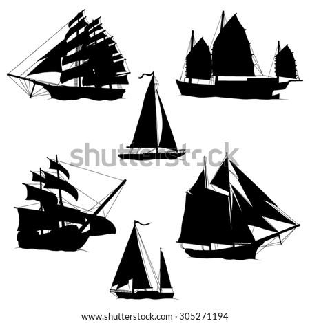 Sailboats and Sailing Ships Black Silhouettes- Vector illustration - stock vector