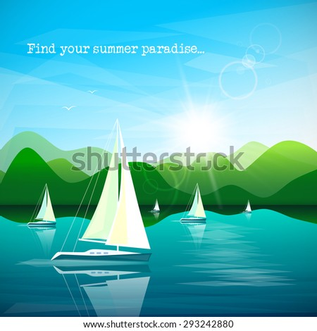 Sailboats regatta on beautiful mountains landscape background - stock vector