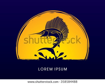 Sailfish Jumping, designed on moonlight background graphic vector.