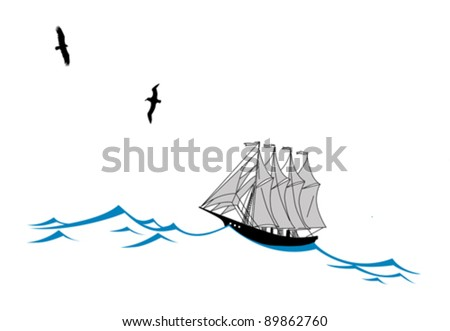 sailfish on wave silhouette on white background, vector illustration