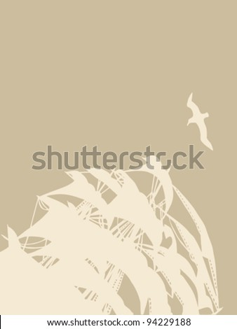 sailfish silhouette on brown background - stock vector