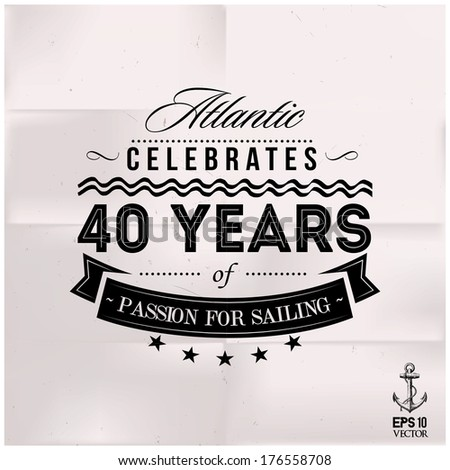 Sailing Anniversary on Folded White Paper - stock vector