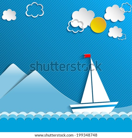 Sailing boat and clouds - stock vector