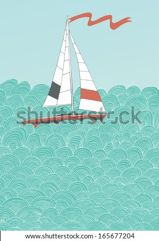 Sailing Boat and Hand-Drawn Waves - stock vector