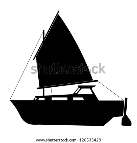 Sailing boat floating. Vector illustration. - stock vector