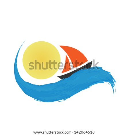 Sailing boat on the water, vector icon - stock vector