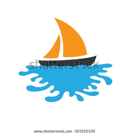 Sailing boat on the water, vector logo icon - stock vector