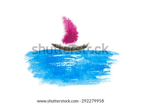 Sailing boat on the water, watercolor vector illustration - stock vector