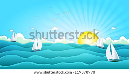 Sailing Boats In Wide Summer Ocean/ Illustration of a cartoon ocean landscape with yachts and sailing boats for spring or summer holiday vacations, including seagulls, rough sea and bright sunshine - stock vector