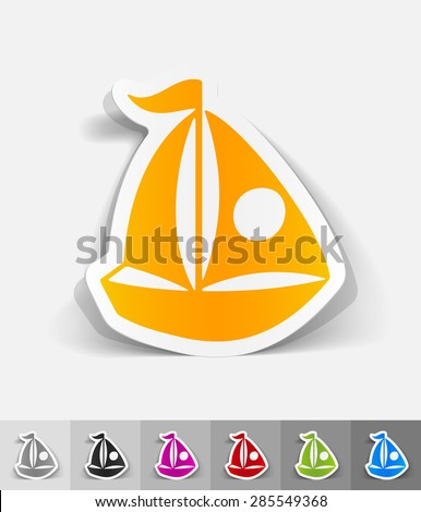 sailing boats paper sticker with shadow. Vector illustration - stock vector