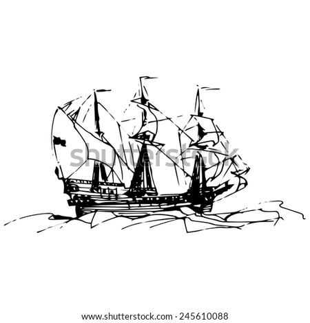 Sailing galleon ship in the ocean in ink line style.  Hand sketched old warship. Marine theme design