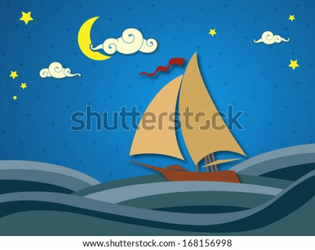Sailing in the night - vector format - stock vector