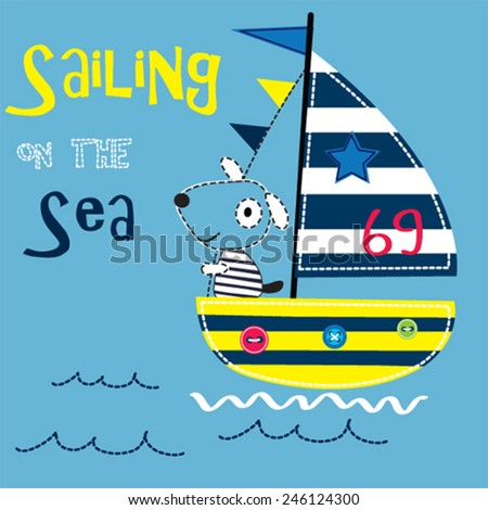 sailing on the sea with sailor dog vector illustration - stock vector