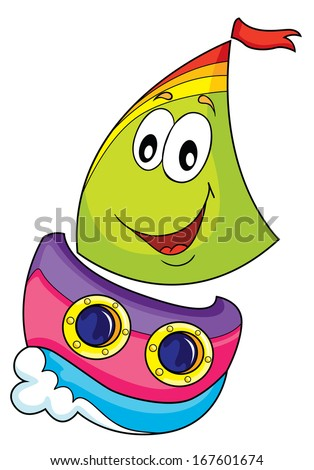 sailing on waves with eyes and a smile, vector illustration on white background - stock vector