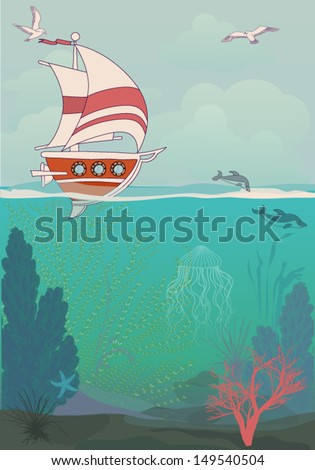 Sailing Poster - Summer holidays poster, with sailing ship and underwater flora and fauna, including coral reefs, dolphins, sea grass and jellyfish - stock vector