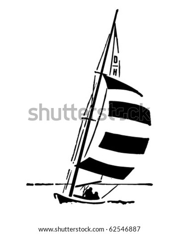 Sailing - Retro Clipart Illustration - stock vector