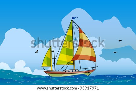 Sailing ship floating in the sea