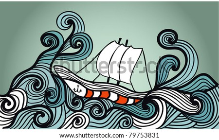 sailing ship in the storm ocean - stock vector