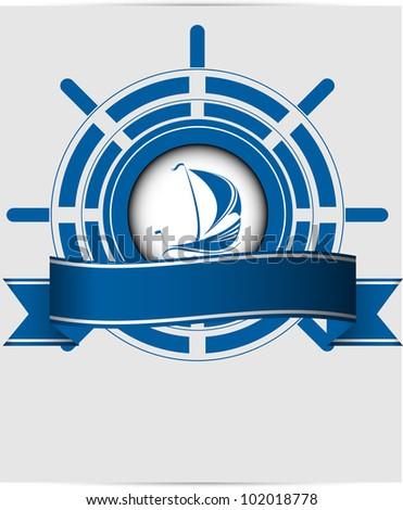 Sailing ship label in the ocean vector format - stock vector