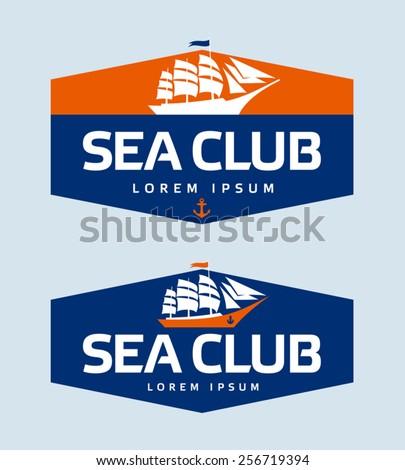 Sailing ship logo design template - stock vector