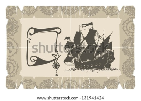Sailing ship on parchment, 3, vector - stock vector