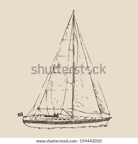 sailing ship, (sailing boat) vintage illustration, engraved retro style, hand drawn, sketch - stock vector