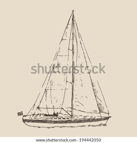 sailing ship, (sailing boat) vintage illustration, engraved retro style, hand drawn, sketch - stock vector
