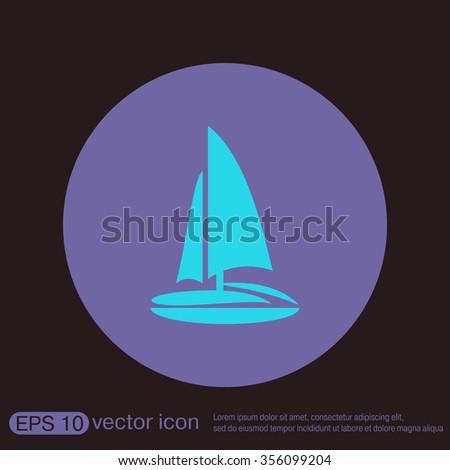 sailing ship symbol . icon boat steamer.  sailboat sign - stock vector