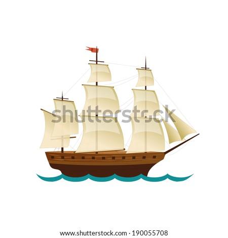 Sailing Ship. Vector design for app game user interface - stock vector