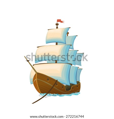 Sailing Ship. Vector illustration isolated on white - stock vector