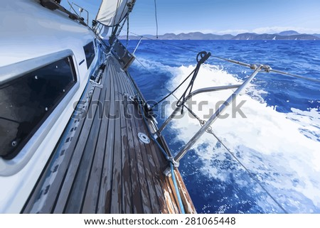 Sailing. Ship yachts in the open Sea. Luxury boats. Vector Illustration. - stock vector