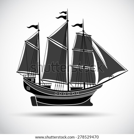 sailing ships black line silhouettes,Vector illustration