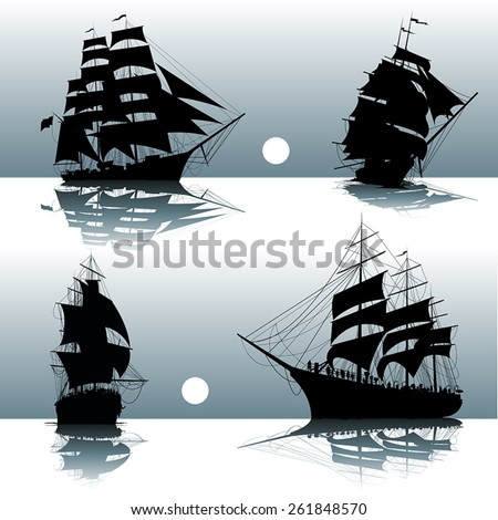 Sailing ships on the sea isolated. Vector illustration - stock vector