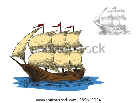 Sailing vacation or nautical history sketch with antique three masted barque sailing ship among blue sea - stock vector