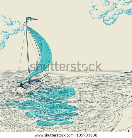 Sailing vector background - stock vector
