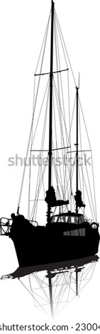 Sailing vessel on pier. Vector silhouette. - stock vector