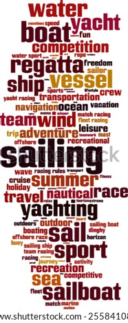 Sailing word cloud concept. Vector illustration