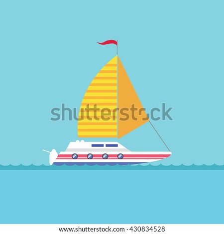 Sailing yacht. Icon. The boat floats on the river waves, sea, ocean. Flat style vector illustration - stock vector